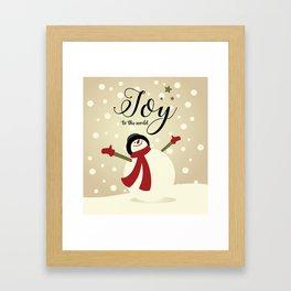 Snowman's Joy To The World Framed Art Print