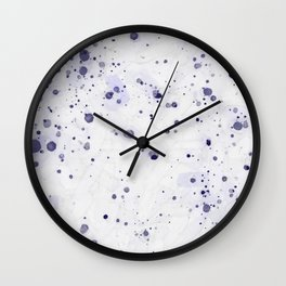 Purple Ink Drops Wall Clock