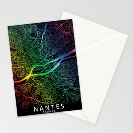 Nantes, France, City, Map, Rainbow, Map, Art, Print Stationery Cards
