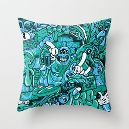 Pager One Character Collage Royal Stain Blue Throw Pillow