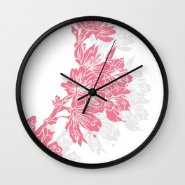Cherry Blossom Pink Block Print Wall Clock