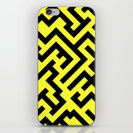 Black and Electric Yellow Diagonal Labyrinth iPhone Skin