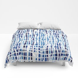 Shibori Braid Vivid Indigo Blue and White Comforters
