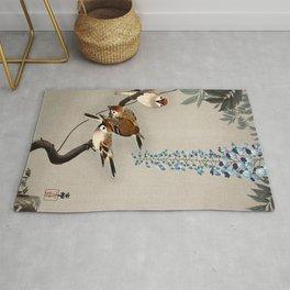 Sparrows and wisteria flower - Vintage Japanese Woodblock Print Art Rug