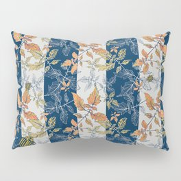 Tomatoes leaves in coral and blue stripes Pantone palette Pillow Sham