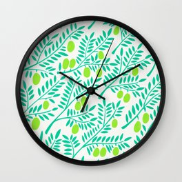 Olive Branches – Turquoise & Lime Palette Wall Clock
