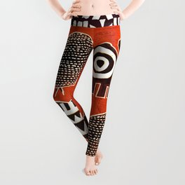 African Animal Folk Art Leggings