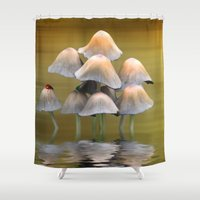 mushrooms Shower Curtains featuring Mushrooms by Shalisa Photography