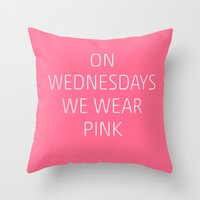 mean girls Throw Pillows featuring Mean Girls #8 – Pink by Enyalie