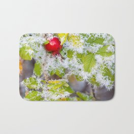 Rose hip and frozen leaves Bath Mat