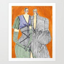 Rosie Assoulin Girls No. 2 – Original Fashion art, Fashion Illustration, Fashion wall art Art Print