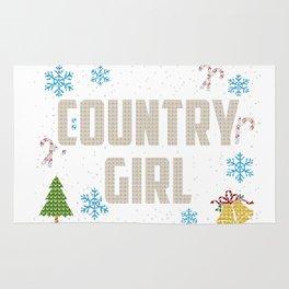 Country Christmas Ugly Shirt Girl Country Rug