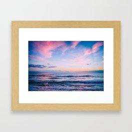 Pink and Blue Peaceful Ocean Sunset Framed Art Print