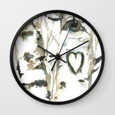 Winter Romance Birch Forest  Wall Clock