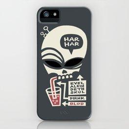 Evel Alein Deth Skul Dirnk Blod iPhone Case