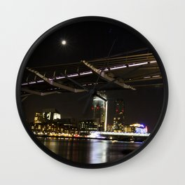 Millennium Bridge at Night Wall Clock