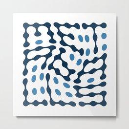 Twisted Metaballs Typography (Blue) Metal Print