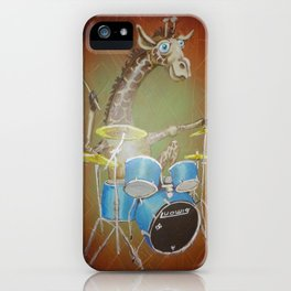 Giraffe Playing Drums iPhone Case