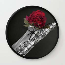 Black White Saxophone Red Rose Musical Instrument Art A508 Wall Clock