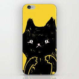 Scaredy Cat - Cute scared black kitty cat illustration iPhone Skin