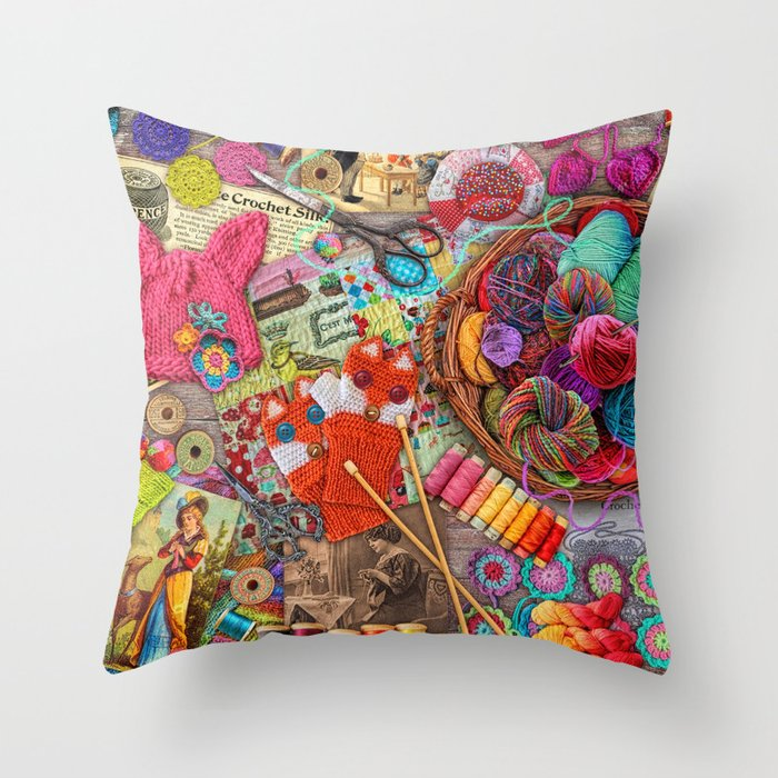 Vintage Yarn & Thread Throw Pillow