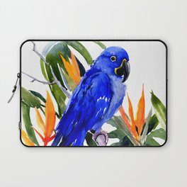 Hyacinth Macaw, Tropical colors foliage, jungle paradise flowers blue orange jungle colors Laptop Sleeve