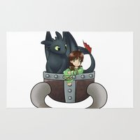 hiccup Area & Throw Rugs featuring Hiccup and Toothless in a Helmet by snowrunt