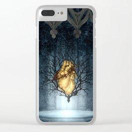 Golden Heart Clear iPhone Case