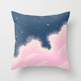 Pixel Cotton Candy Galaxy Throw Pillow