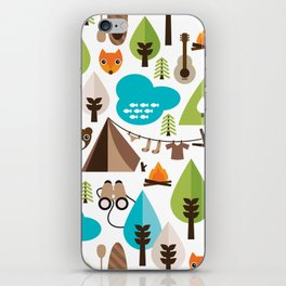 Wild camping trip with fox and wild animals illustration iPhone Skin