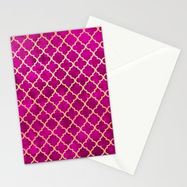 Moroccan Pink Gold Quatrefoil Art Deco Pattern Stationery Cards