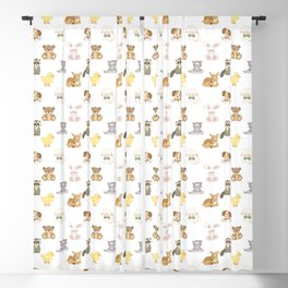Cute Woodland Farm Baby Animals Nursery Blackout Curtain
