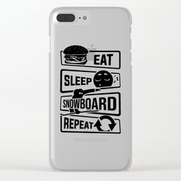 Eat Sleep Snowboard Repeat - Winter Snow Sports Clear iPhone Case