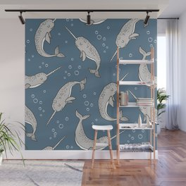 Narwhal  Grey on Navy Blue Wall Mural