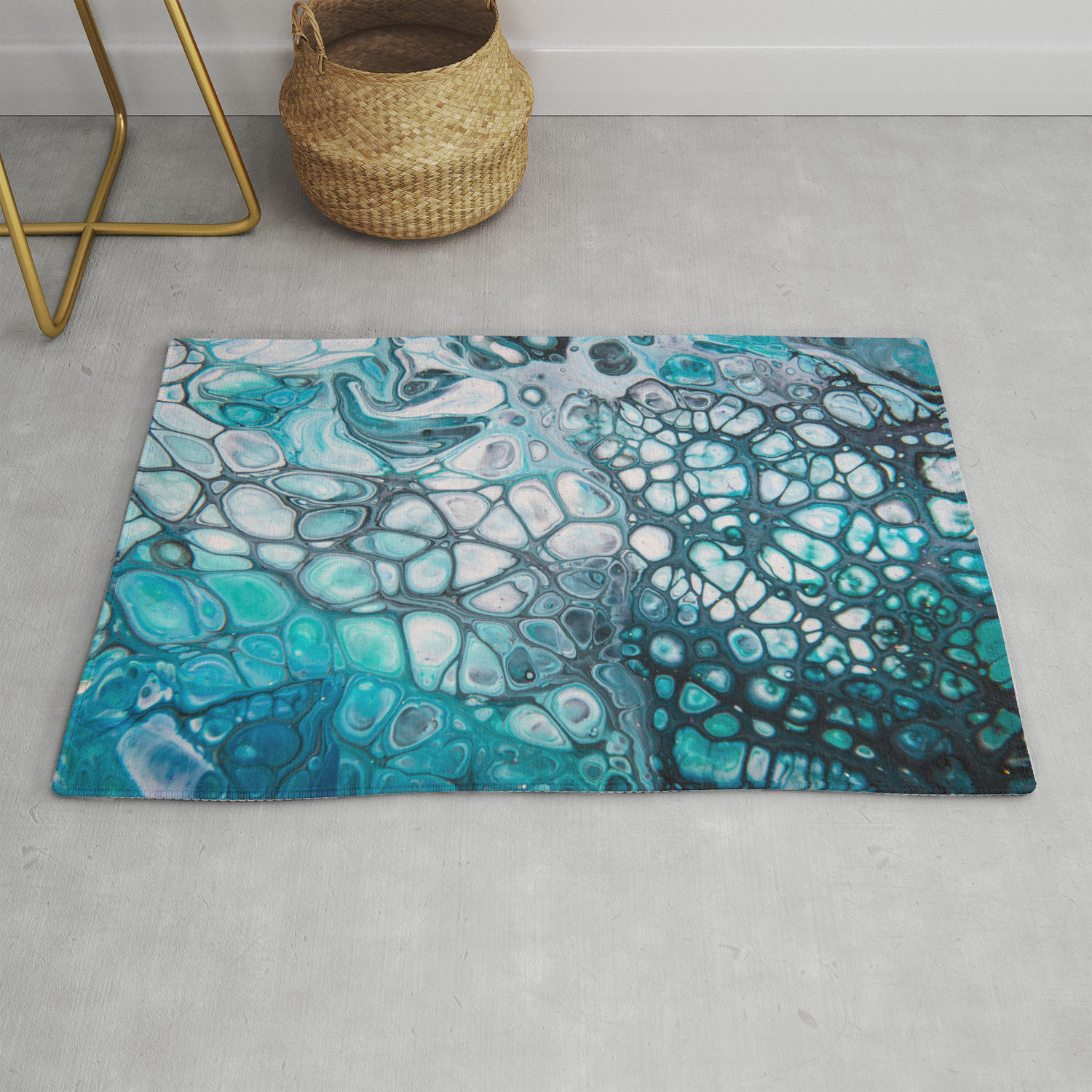 Dee Blue Acrylic Pour Rug by spydphotography