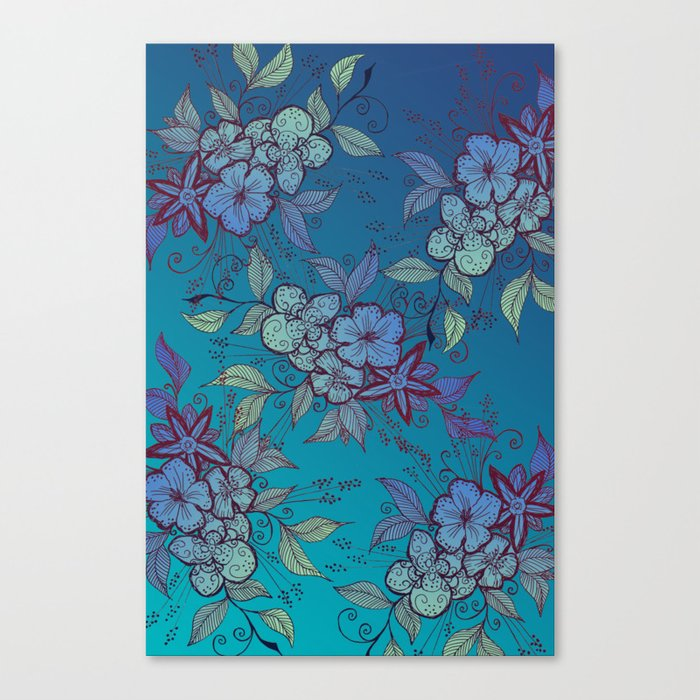 Blue and Turquoise Floral Pattern Design Canvas Print