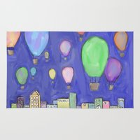hot air balloons Area & Throw Rugs featuring hot air balloons by Kaylabeaisaflea