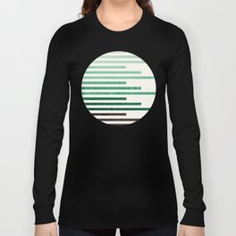 Mid Century Modern Minimalist Circle Round Photo Aquamarine Teal Green Staggered Stripe Pattern Long Sleeve T-shirt