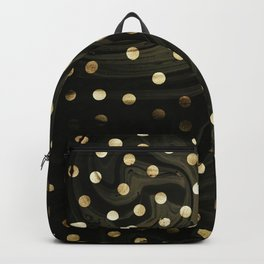 Golden dots in balck marble Backpack