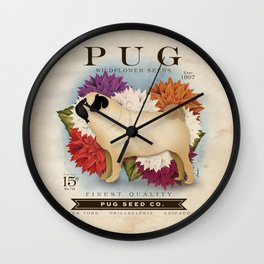 Pug dog seed packet artwork by Stephen Fowler Wall Clock