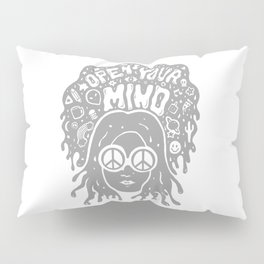 Open Your Mind in Gray Pillow Sham