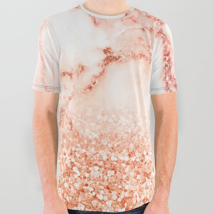 878f5ee2c Sparkly Peach Copper Rose Gold Ombre Bohemian Marble All Over Graphic Tee