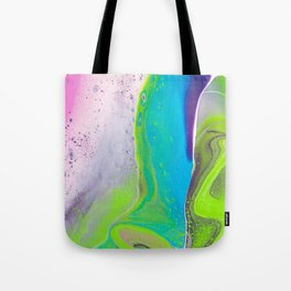Fluid Art Acrylic Painting, Pour 31, Lime Green, Purple, Blue & Pink Blended Color Tote Bag