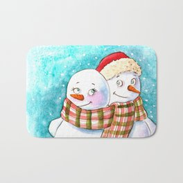 Snowmen in love Bath Mat