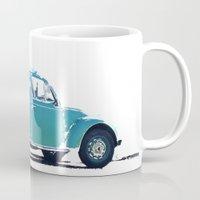 volkswagon Mugs featuring Blue VW Bug by Regan's World