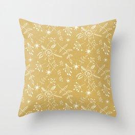 Winter Floral Beige Throw Pillow