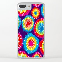 Tie dye circle round color rainbow red purple yellow blue pink orange Clear iPhone Case