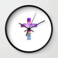 pocketfuel Wall Clocks featuring CROSS by Pocket Fuel