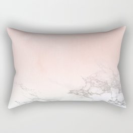 Blush Pink on White and Gray Marble III Rectangular Pillow