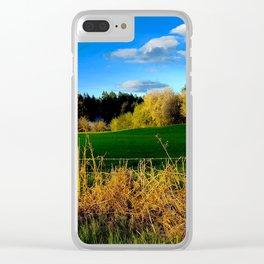 Golden Evening Light Across A Field Clear iPhone Case